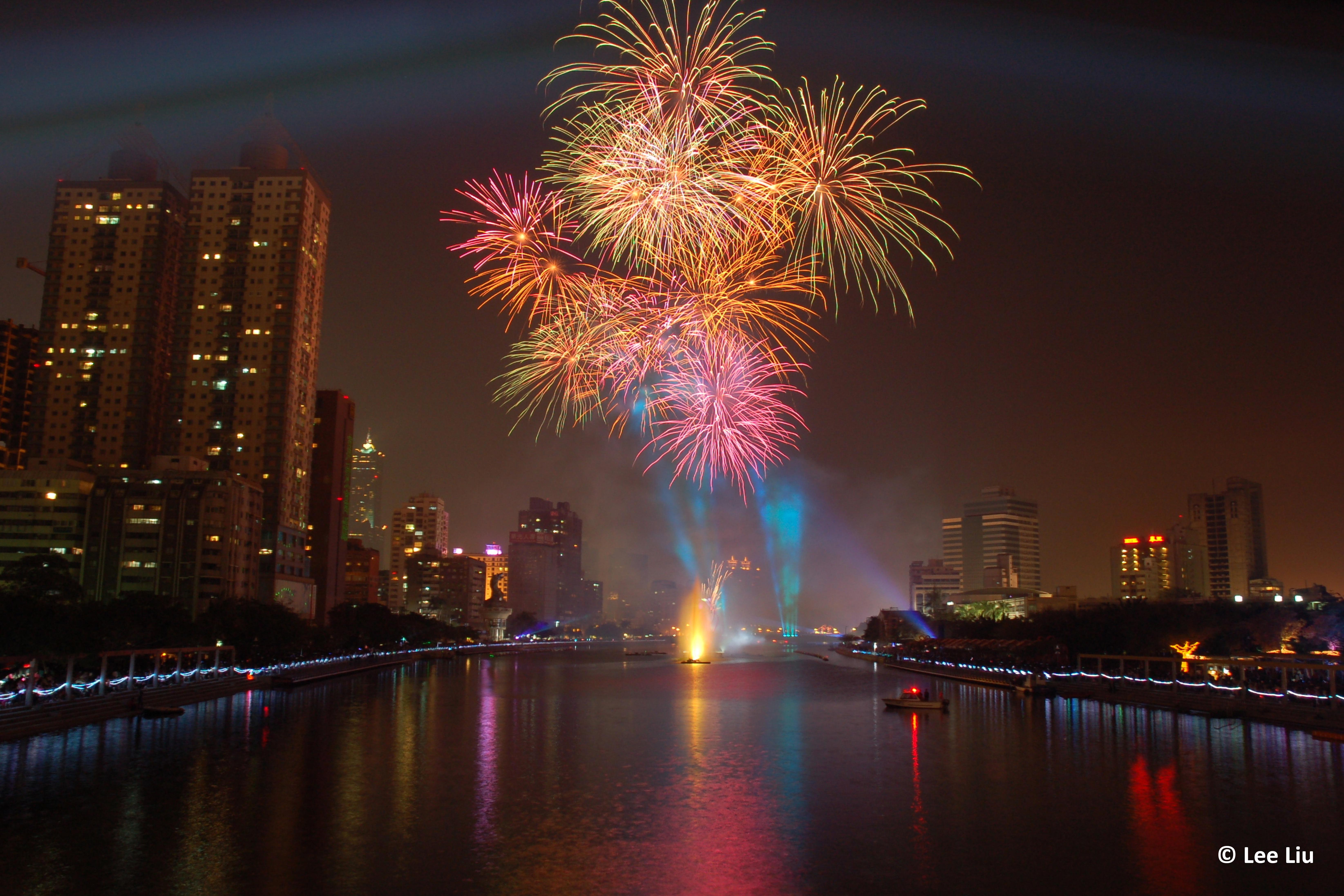 Capodanno in città Kaohsiung, Taiwan